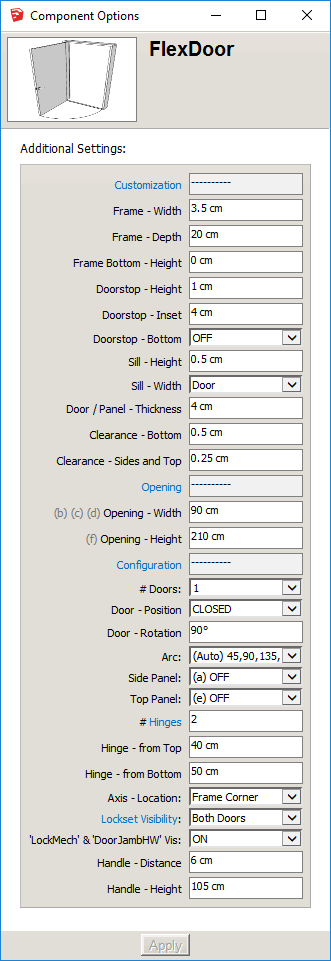 FlexDoor Component Options Screen2