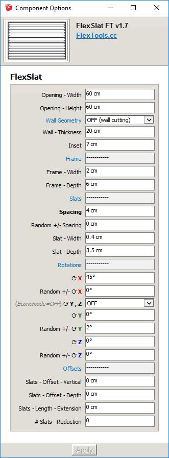 FlexSlat Component Options