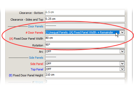 Unequal FlexDoor Panels Options Window [Image]