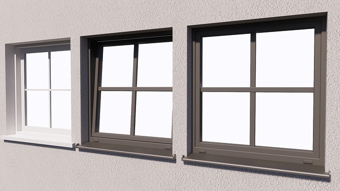 Original and the modified windows rendered in Enscape.