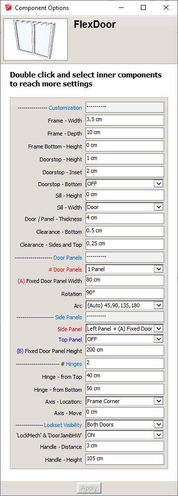 FlexDoor Component Options