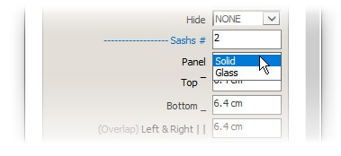 glass or solid panels