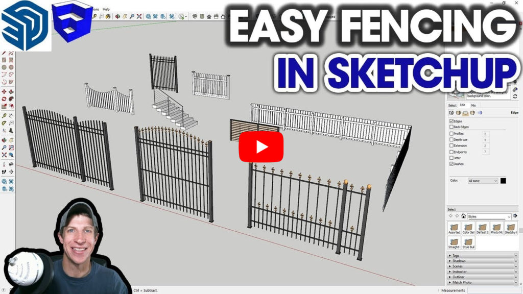 EASY FENCING in SketchUp with FlexTools FlexFence